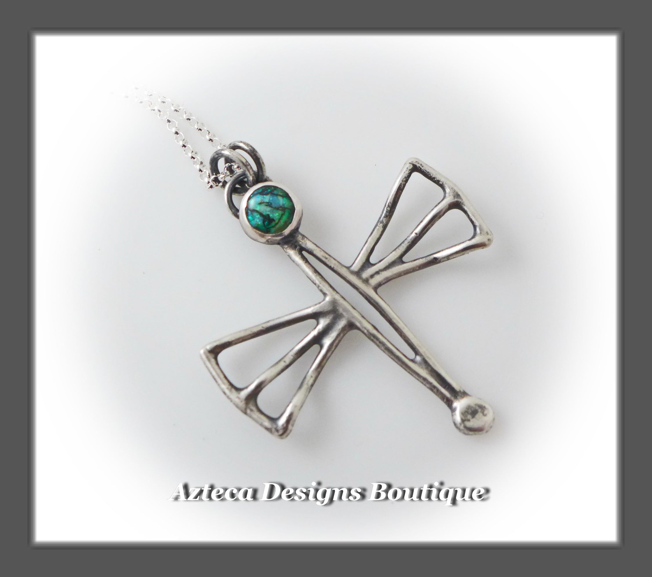 Cultured Opal + Sterling Silver + Hand Fabricated Dragonfly Necklace