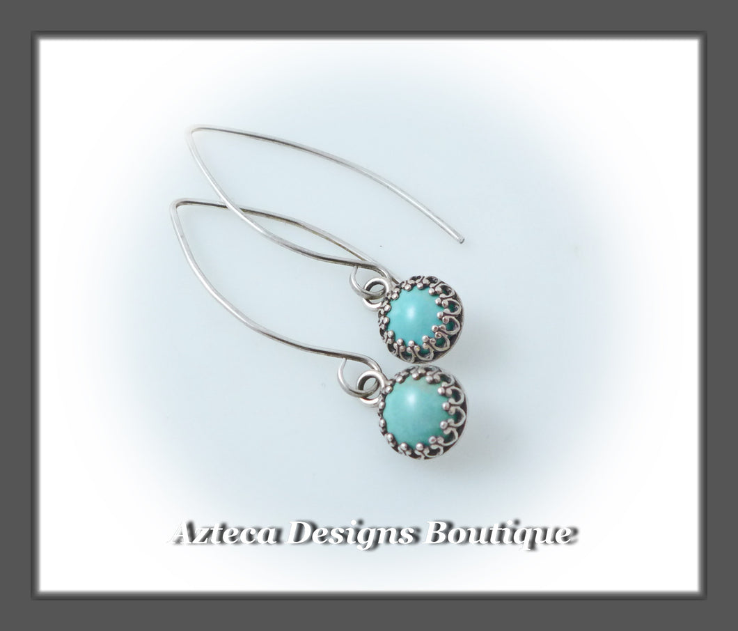 Argentium Silver+Turquoise+Marquise Drop Earrings
