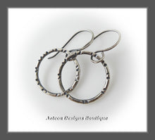 Load image into Gallery viewer, Argentium Silver+Hand Fabricated+Line Stamped+Swinging Hoop Earrings