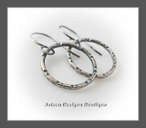 Argentium Silver+Hand Fabricated+Line Stamped+Swinging Hoop Earrings