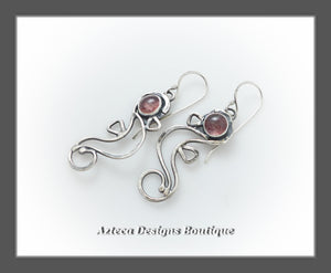 RESERVED FOR HEATHER - Seahorse+Argentium Silver+Strawberry Quartz Earrings