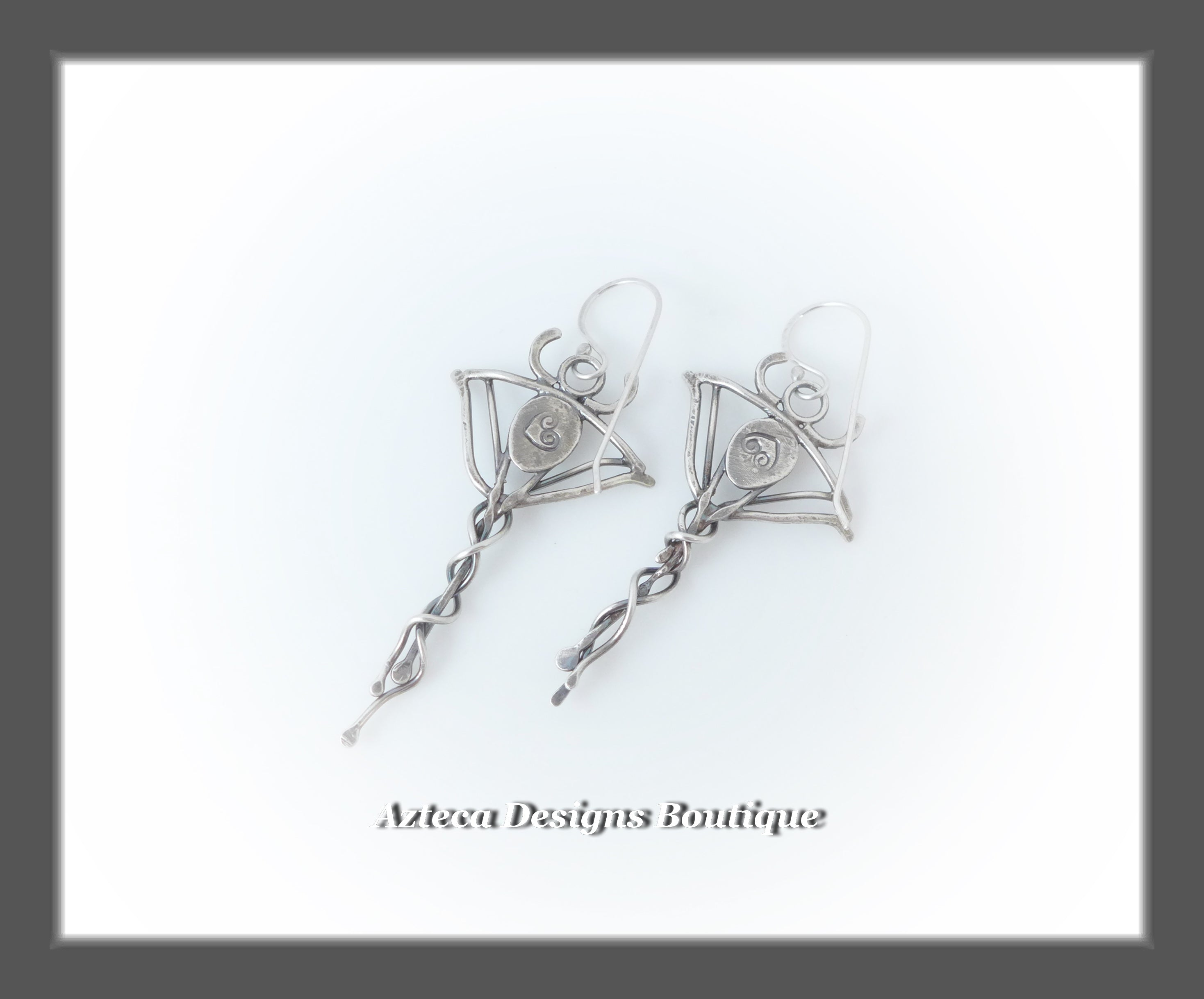 Swiss Blue Topaz+Argentium Silver+Manta Ray Earrings