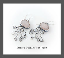 Load image into Gallery viewer, Peach Moonstone Rosecut+Argentium Silver+Sea Jelly Earrings