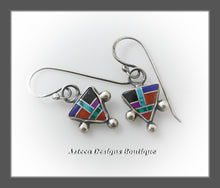 Load image into Gallery viewer, Multi Stone Inlay + Southwest Triangle + Sterling Silver Earrings