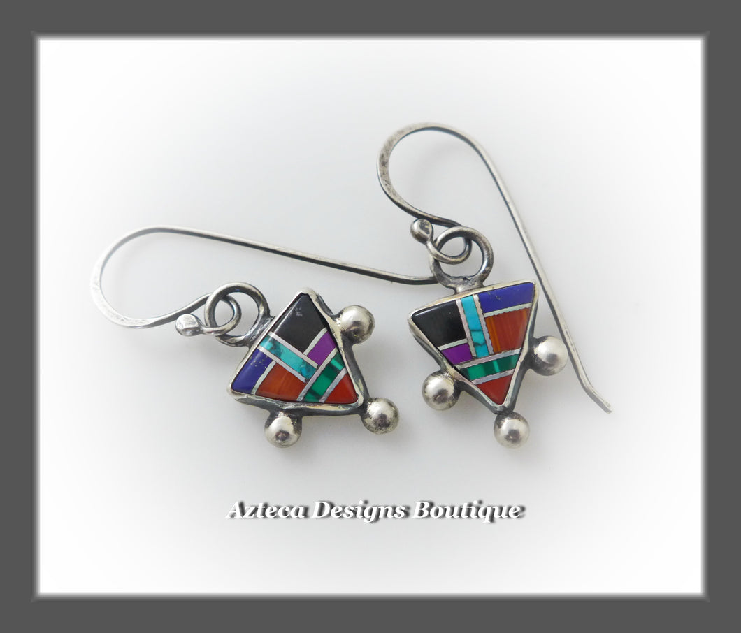 Multi Stone Inlay + Southwest Triangle + Sterling Silver Earrings