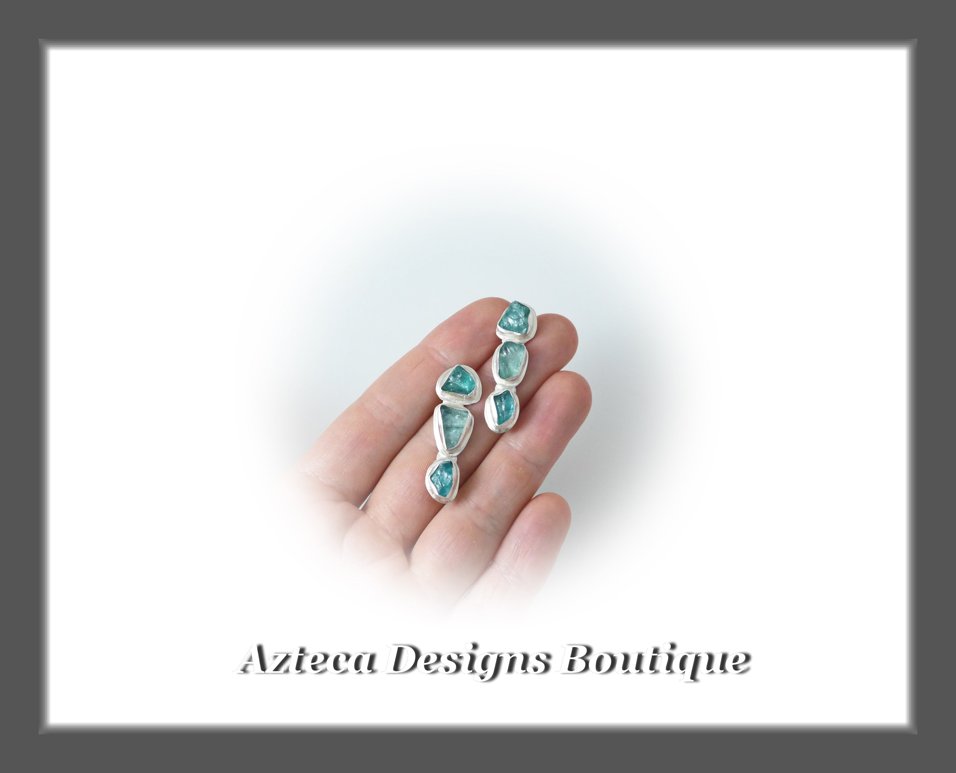 Raw Apatite Triple Crystal+Hand Fabricated Sterling Silver+Post Earrings