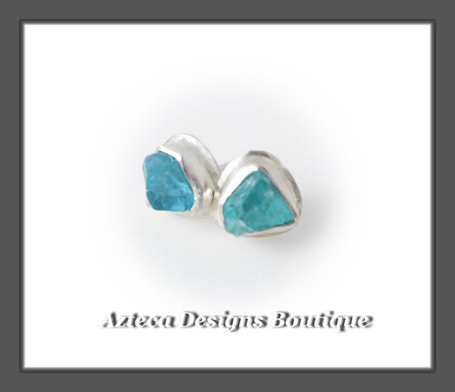 Apatite Raw Crystal+Hand Fabricated Sterling Silver+Post Earrings