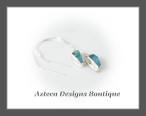 Apatite Raw Crystal+Hand Fabricated Sterling Silver+Ear Thread Earrings