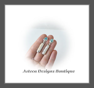 Apatite Raw Crystal+Stick Pearl+Hand Fabricated Sterling Silver+Post Earrings