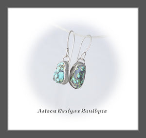 Blue Moon Turquoise+Argentium Silver+Unmatched Rough Nugget Earrings+Pair One