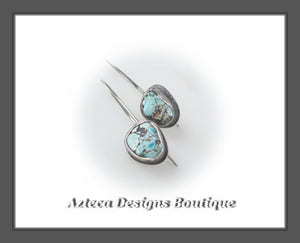 Blue Moon Turquoise+Argentium Silver+Unmatched Rough Nugget Earrings+Pair Three