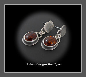 Baltic Amber+Hand Fabricated Silver+Oval Drop Post Earrings