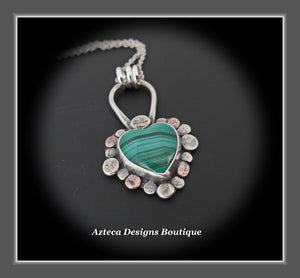 Malachite Heart+Copper+Silver+Lace Hand Fabricated Necklace