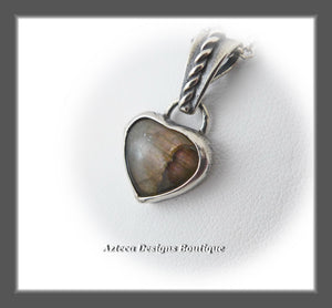 Labradorite Pink Fire Heart+Sterling Silver+Hand Fabricated Necklace