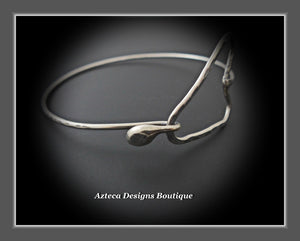 Heart Bangle+Argentium Silver+Hand Fabricated Rustic Minimalist Bracelet