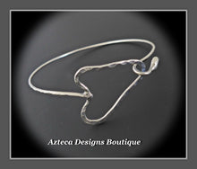 Load image into Gallery viewer, Heart Bangle+Argentium Silver+Hand Fabricated Rustic Minimalist Bracelet