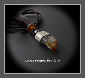 Raw Citrine Crystal Point+Hand Fabricated Sterling Silver+Leather Necklace