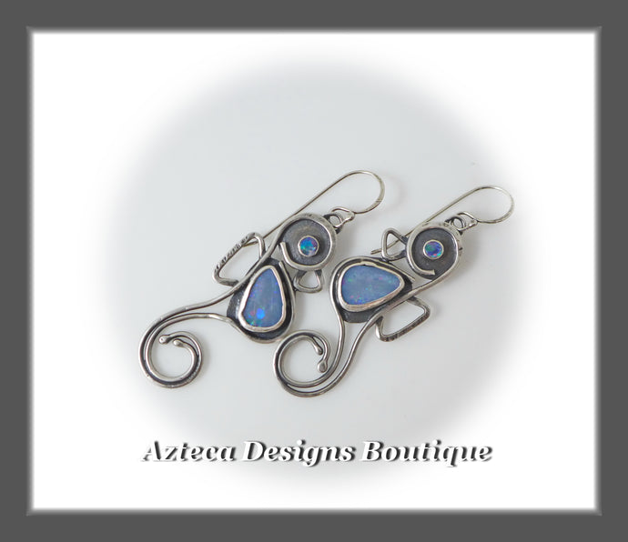 RESERVED~Seahorse~ Hand Fabricated Argentium Silver+Australian Opal Earrings