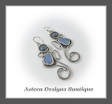 Load image into Gallery viewer, RESERVED~Seahorse~ Hand Fabricated Argentium Silver+Australian Opal Earrings