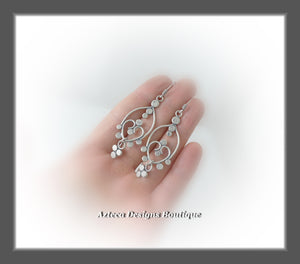 Fancy+Hand Fabricated Argentium Silver+Earrings