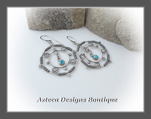 Silver Mandala+Sleeping Beauty Turquoise+Argentium Silver+Hand Fabricated Earrings