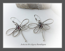 Load image into Gallery viewer, Dragonfly+Blood Red Garnet+Hand Fabricated Argentium Silver Earrings