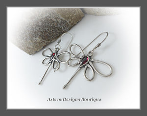 Dragonfly+Blood Red Garnet+Hand Fabricated Argentium Silver Earrings
