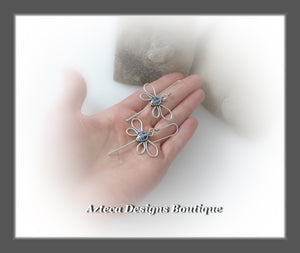 Dragonfly+Multi Stone Rainbow+Hand Fabricated Argentium Silver Earrings