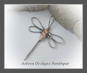 Dragonfly+Cultured Sterling Opal+Argentium Silver+Hand Fabricated Pendant