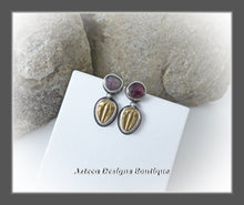 Load image into Gallery viewer, Fossil Crazy~Brass Trilobite+Watermelon Tourmaline+Hand Fabricated Sterling Silver Post Earrings