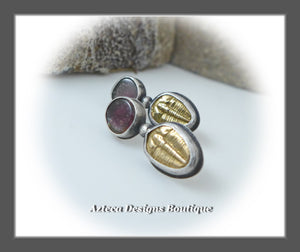 Fossil Crazy~Brass Trilobite+Watermelon Tourmaline+Hand Fabricated Sterling Silver Post Earrings