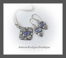 Load image into Gallery viewer, Tanzanite+Sterling Silver+Hand Fabricated+Necklace+Earrings Trio