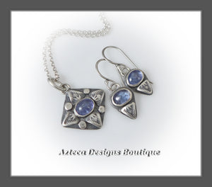 Tanzanite+Sterling Silver+Hand Fabricated+Necklace+Earrings Trio