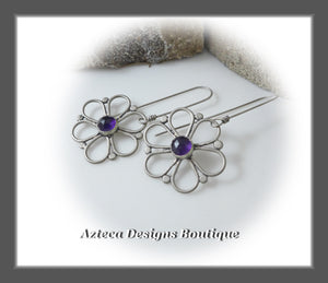 Bohemian Flower+Argentium Silver+Amethyst+Hand Fabricated Earrings