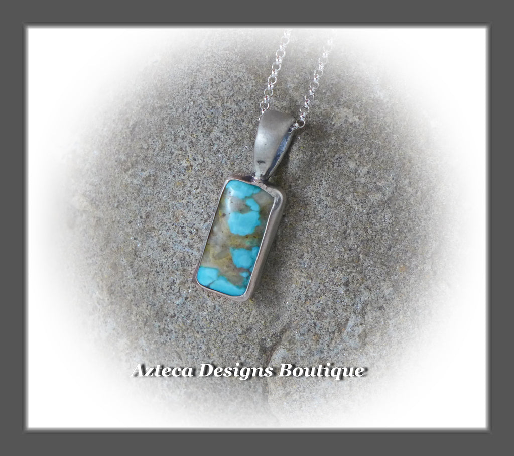 Natural Blue Royston Turquoise+Vertical Bar+Sterling Silver Pendant