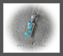 Load image into Gallery viewer, Natural Blue Royston Turquoise+Vertical Bar+Sterling Silver Pendant