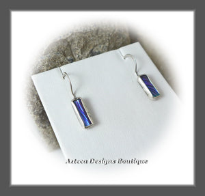 Abalone Shell+Argentium Silver+Minimalist Bar Earrings