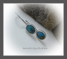Load image into Gallery viewer, Blue Peruvian Opal+Argentium Silver+Minimalist Earrings