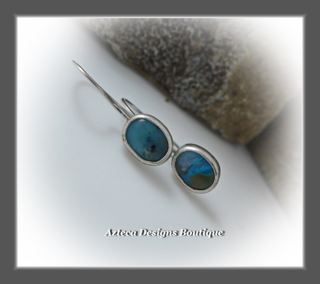 Blue Peruvian Opal+Argentium Silver+Minimalist Earrings