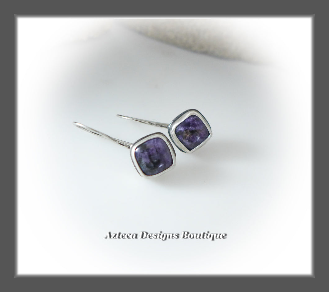 Purple Charoite+Argentium Silver+Minimalist Earrings