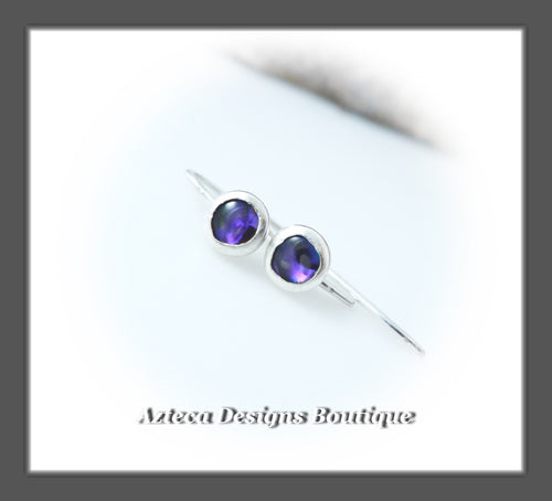 Abalone Shell Purple+Argentium Silver+Minimalist Tiny Hook Earrings