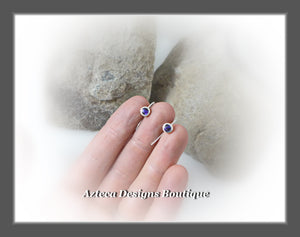 Abolone Shell Purple+Argentium Silver+Minimalist Tiny Hook Earrings