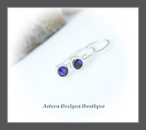 RESERVED FOR SUE! Abolone Shell Purple+Argentium Silver+Minimalist Hook Earrings