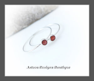 Red Spiny Oyster+Argentium Silver+Minimalist Endless Hoop Earrings