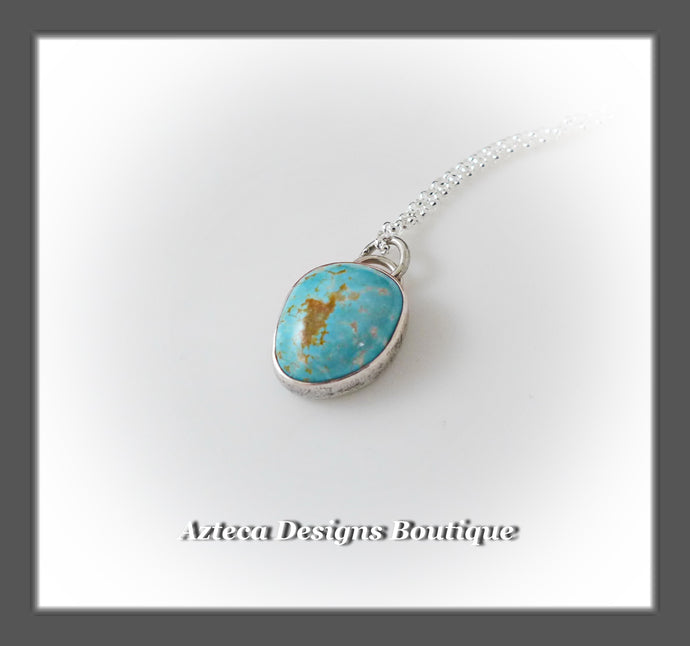 Number 8 Turquoise+Sterling Silver+Hand Fabricated Pendant Necklace+Simply Her