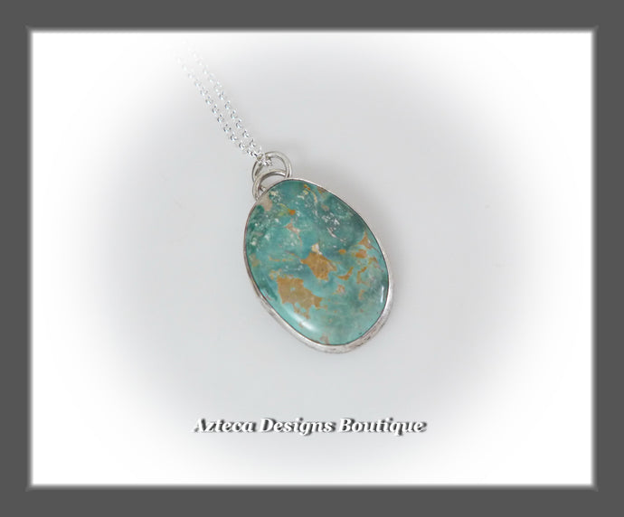 Fox Turquoise+Sterling Silver+Hand Fabricated Pendant Necklace+Simply Her