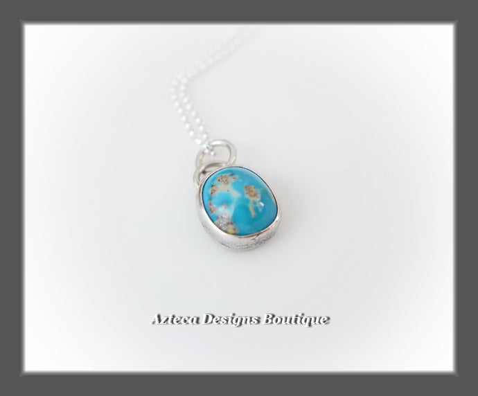 Kingman Turquoise+Sterling Silver+Hand Fabricated Pendant Necklace+Simply Her