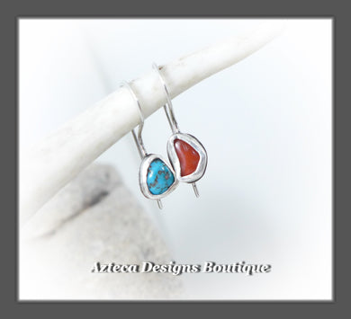 Sleeping Beauty Turquoise+Coral+Argentium Silver+Minimalist Earrings+Embracing Individuality
