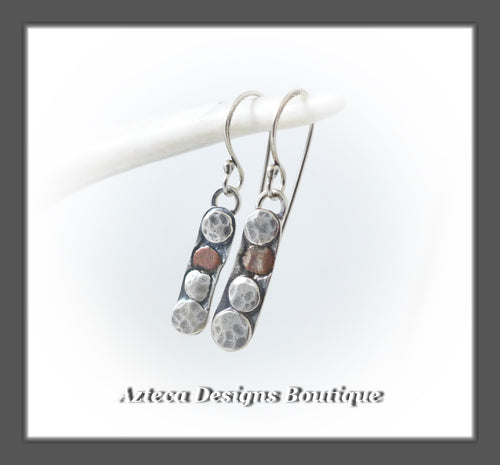 Silver Nugget+Hand Fabricated Silver+Copper Organic Earrings