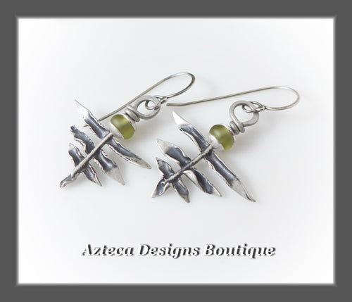 Fern Earrings+Hand Fabricated Argentium Silver+Glass Lampwork